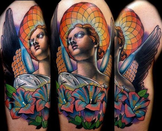 Neo traditional style colored shoulder tattoo of angel woman with flowers