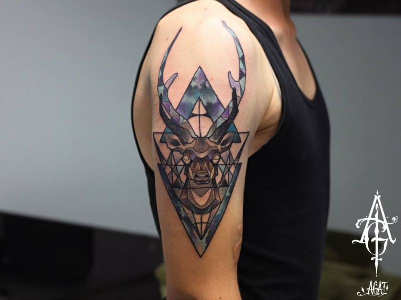 Neo traditional style colored shoulder tattoo of deer skull and triangles