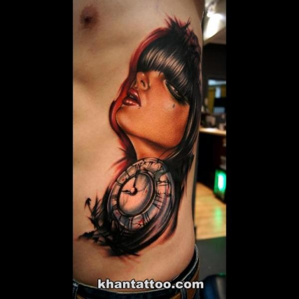 Neo traditional style colored side tattoo of seductive woman with clock