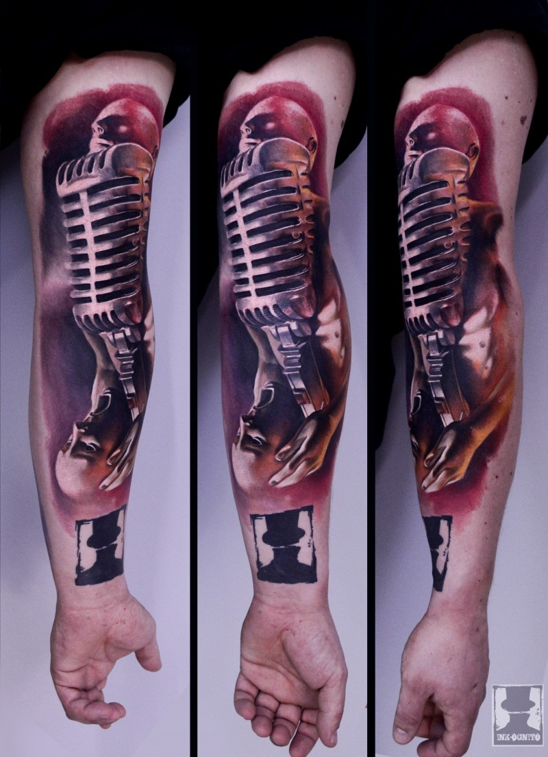 Neo traditional style colored sleeve tattoo of musician with microphone