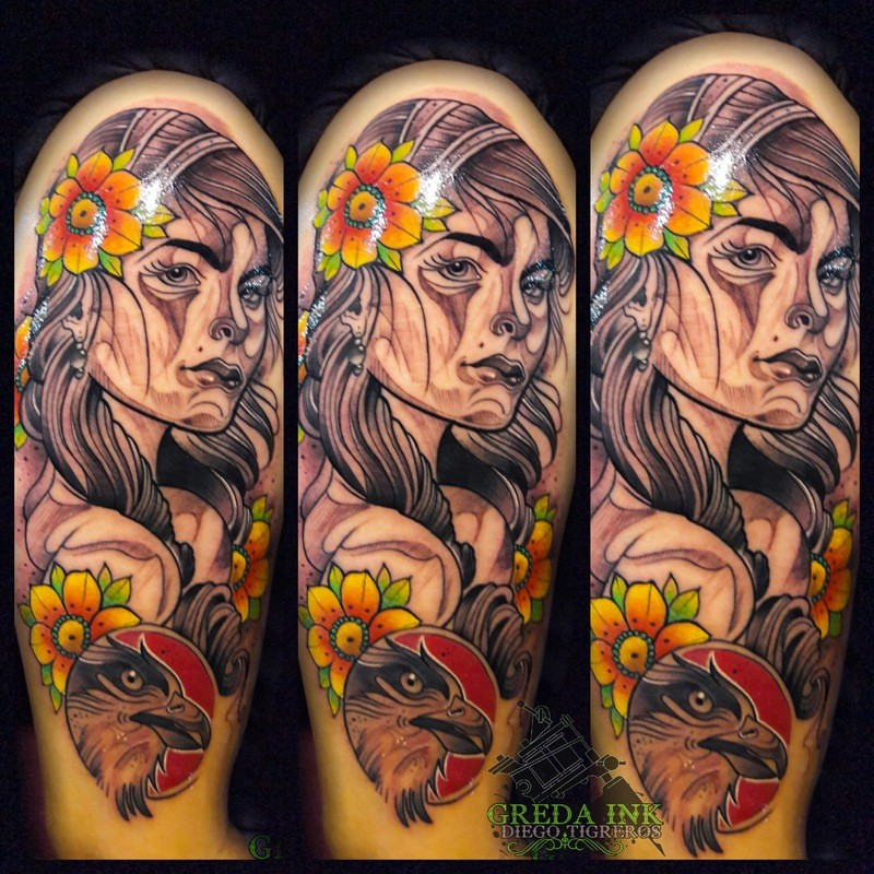 Neo traditional style colored tattoo of woman face with flowers and bird
