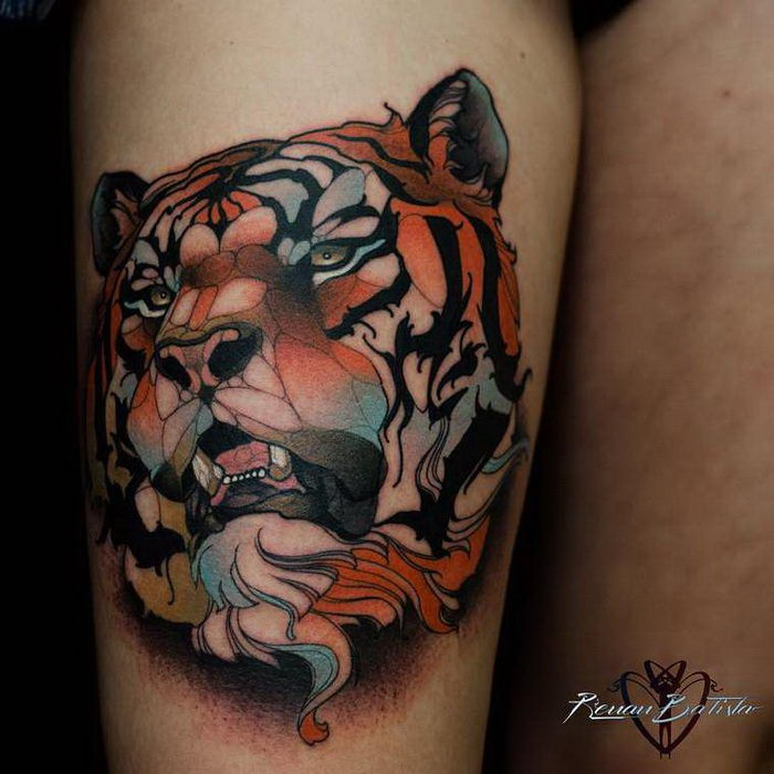 Neo Traditional Style Colored Thigh Tattoo Of Lion Face