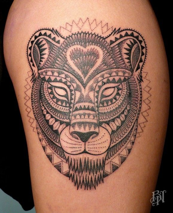 New Tribal Black Lioness Tattoo By Jekyll Or Bleu Noir