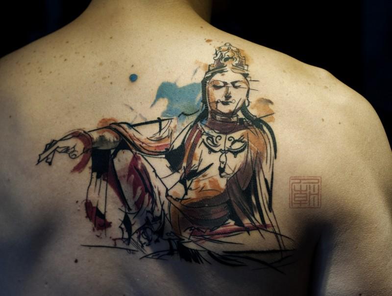 nuovo stile buddista tatuaggio su schiena di uomo