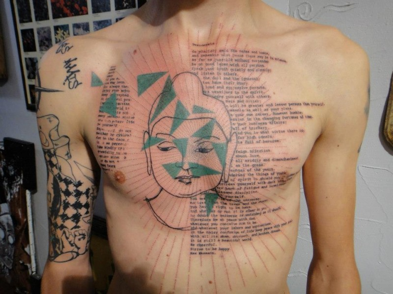 New style buddha with sacred texts tattoo on chest
