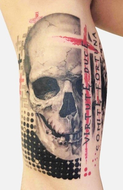 New style skull trash polka tattoo