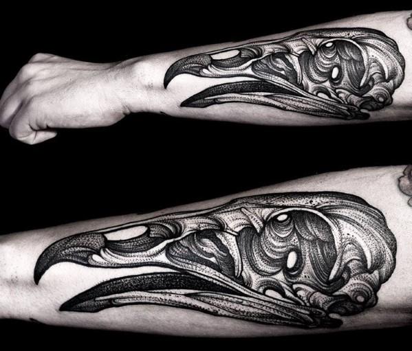 New school 3D style hand tattoo of large animal skull