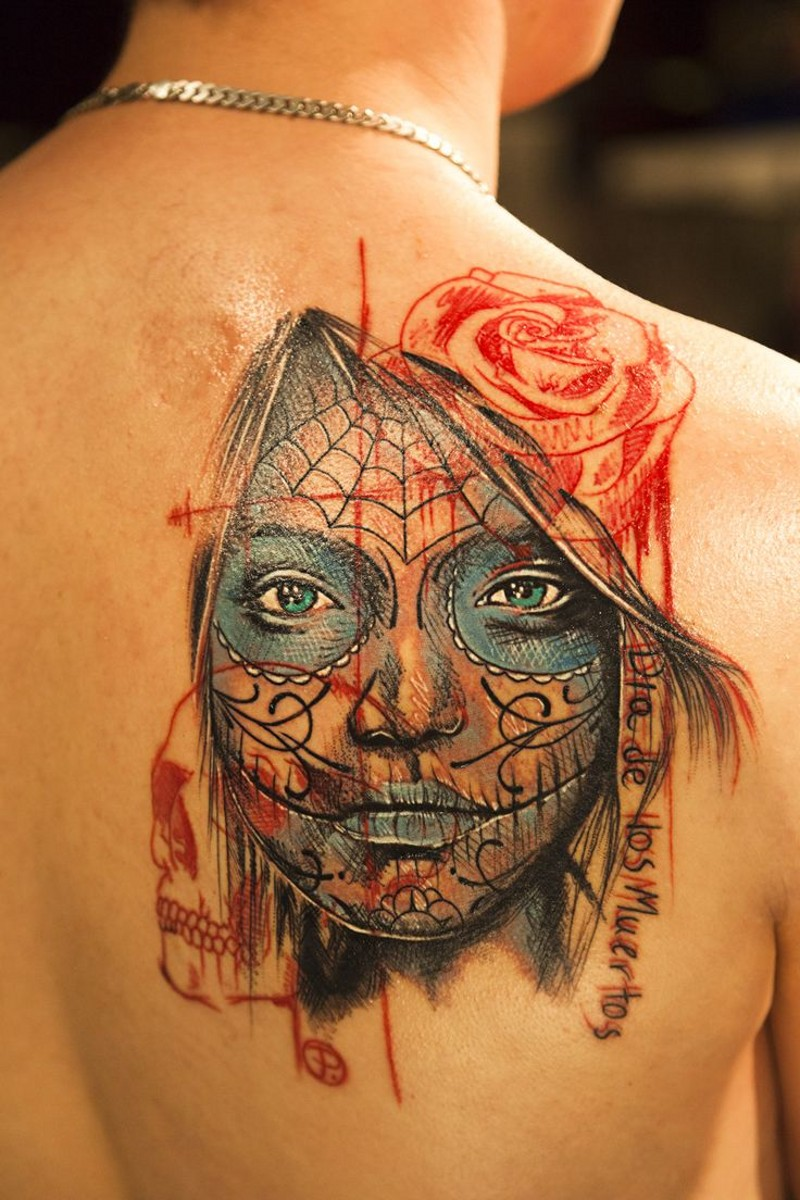 New school day of the dead tattoo for women for Old school day of the dead tattoo