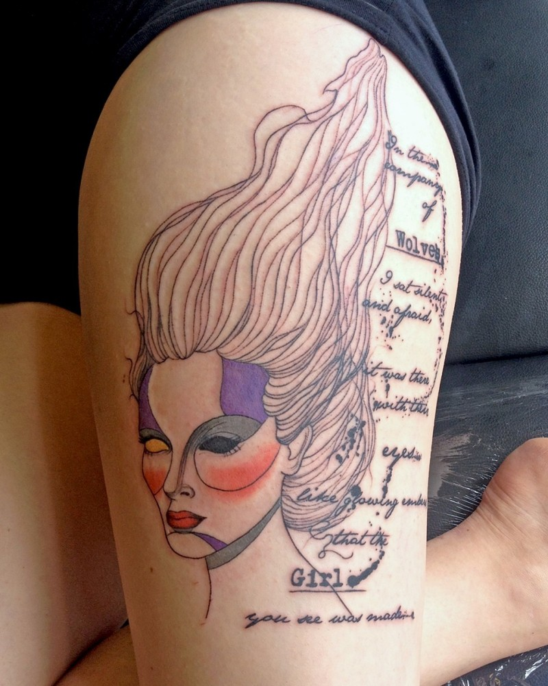New school abstract thigh tattoo of woman with lettering
