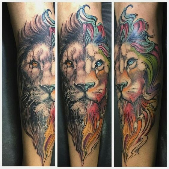 Nuovo tatuaggio in stile art school di un leone dall&quotaspetto bellissimo