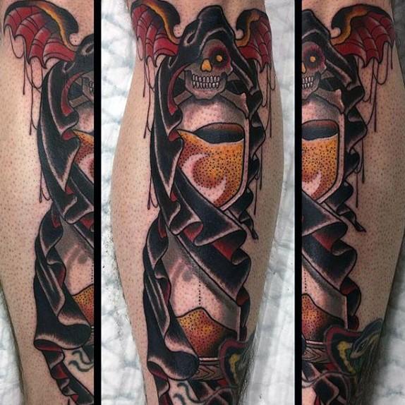 New school colored leg tattoo of dark sand clock