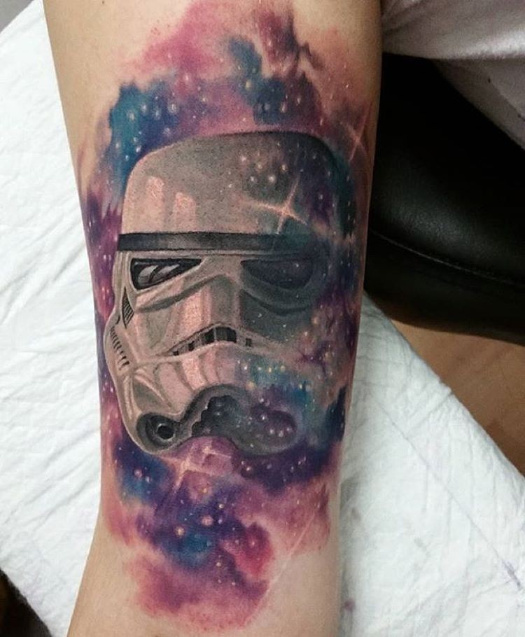 New school illustrative style colored arm tattoo of Storm troopers helmet
