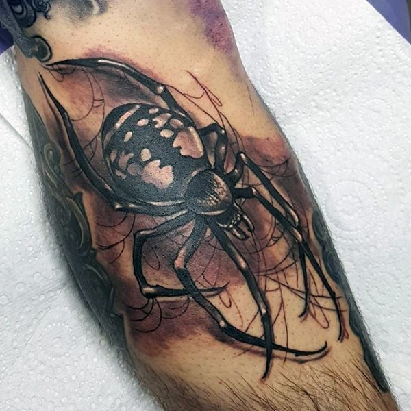 new school illustrative style colored leg tattoo of big spider