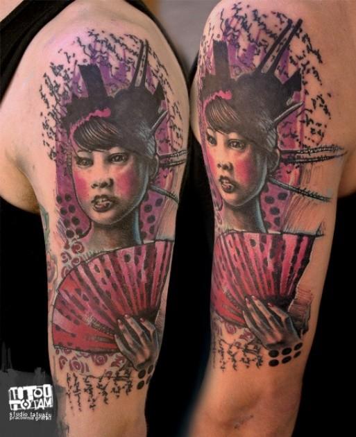 New school illustrative style colored shoulder tattoo of geisha woman portrait