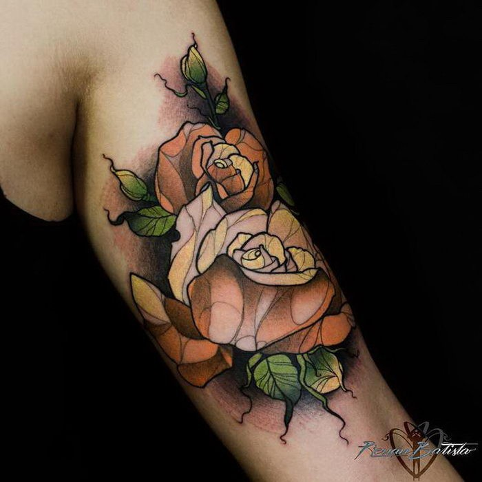 New school illustrative style colored shoulder tattoo of roses