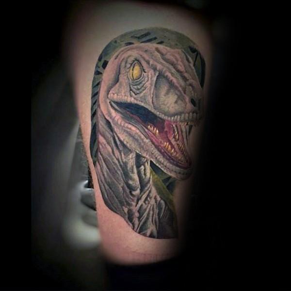 New school illustrative style dinosaur tattoo on arm