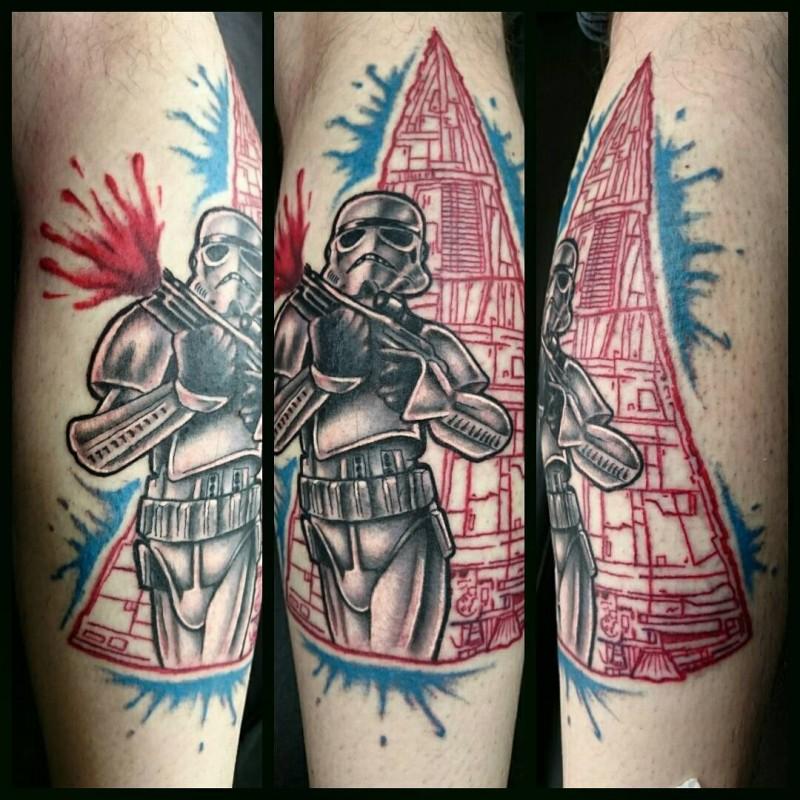New school illustrative style forearm tattoo of storm trooper