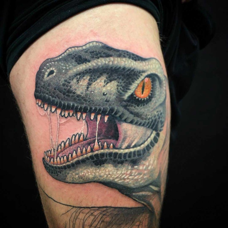 New school illustrative style thigh tattoo of evil dinosaur