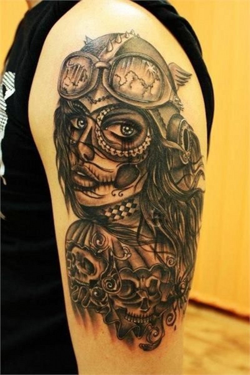 New school santa muerte girl tattoo on shoulder