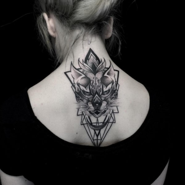New school style big large mystical cat tattoo with geometrical figures
