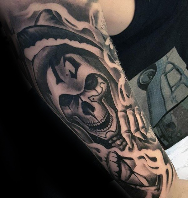 New school style black and white forearm tattoo of grim reaper with 13 number