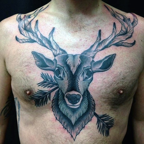 New school style black ink chest tattoo of big deer with arrows