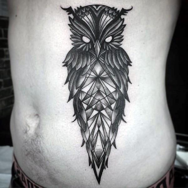 New school style black ink demonic owl tattoo on side stylized with geometrical figures