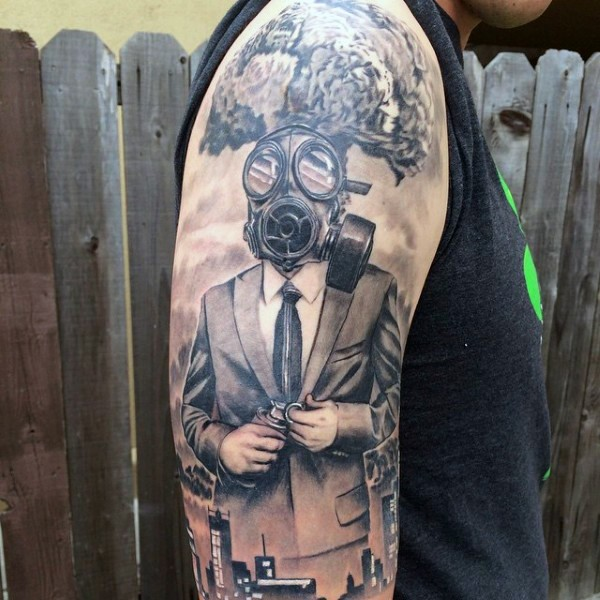 New school style black ink man i suit and gas mask tattoo on sleeve combined with city sights