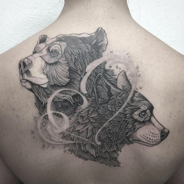 New school style black ink upper back tattoo of cute wolf and bear