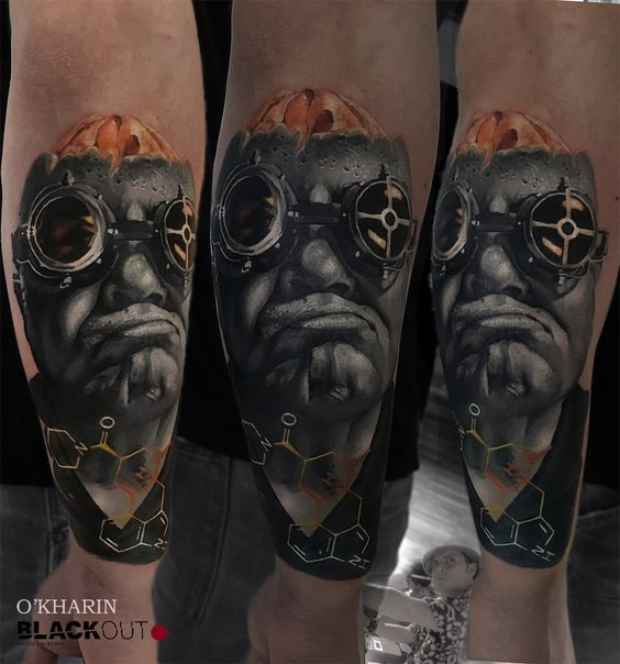 New school style colored arm tattoo creepy man with glasses