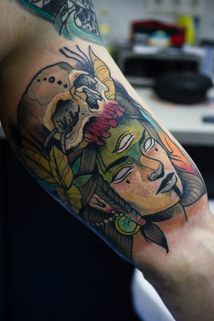 New school style colored arm tattoo od mystical woman with skull