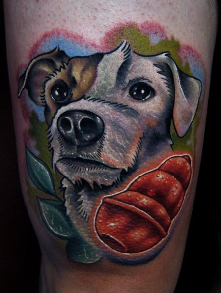 New school style colored arm tattoo of cute dog with little toy