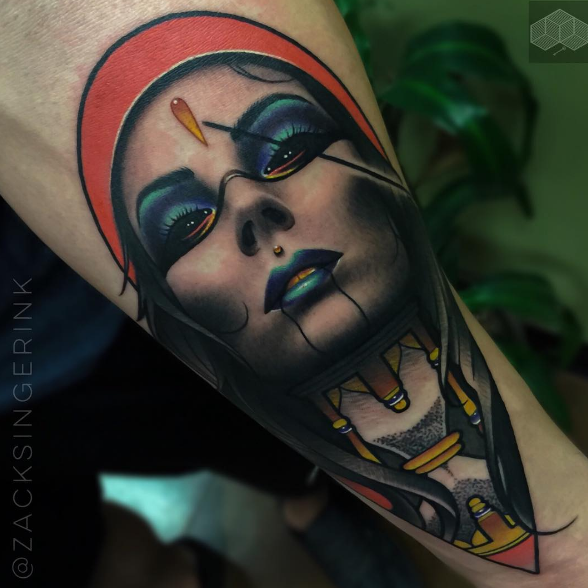 New school style colored arm tattoo of mystical woman portrait