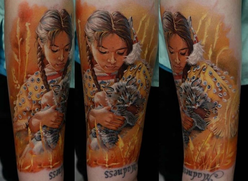 New school style colored arm tattoo of Indian girl with little kitten