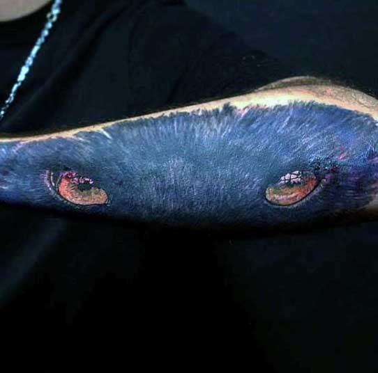 Neue Schule Stil farbiges Arm Tattoo  mit schwarzem Panthers Anblick