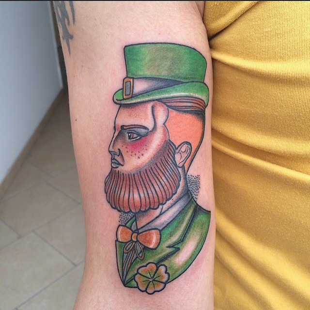 New school style colored arm tattoo of Irish man