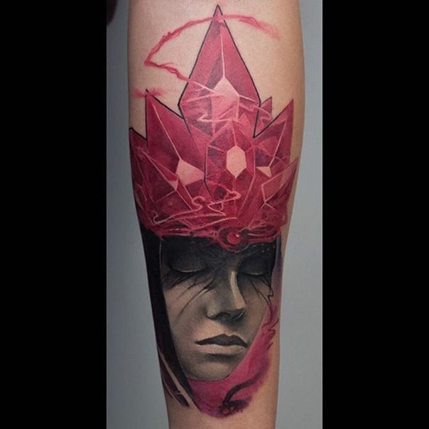 New school style colored arm tattoo of woman with crystals