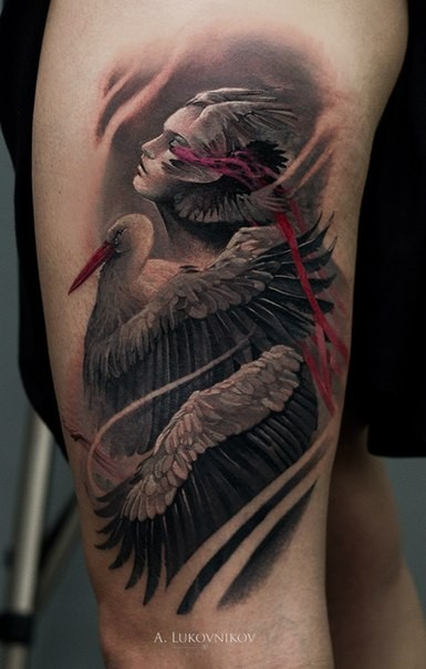 New school style colored arm tattoo of woman with bird