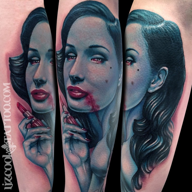 New school style colored arm tattoo of bloody woman with lipstick