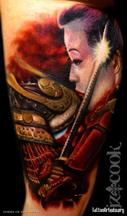 New school style colored arm tattoo of Samurai woman with sword