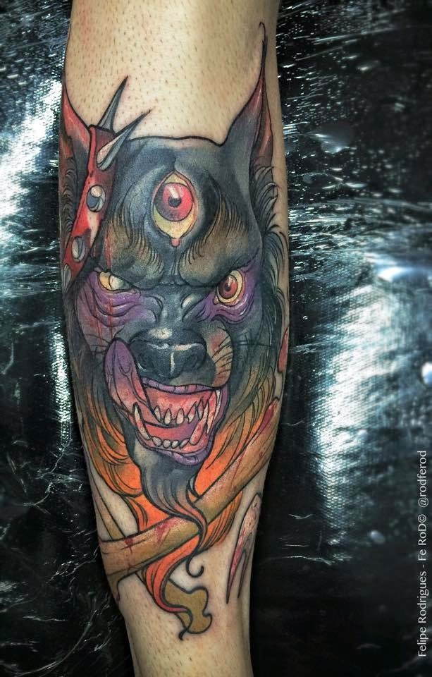 New school style colored arm tattoo of demonic dog and bones