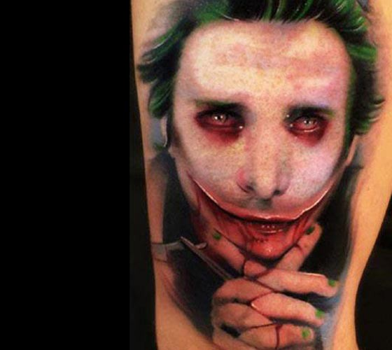 New school style colored arm tattoo of creepy man