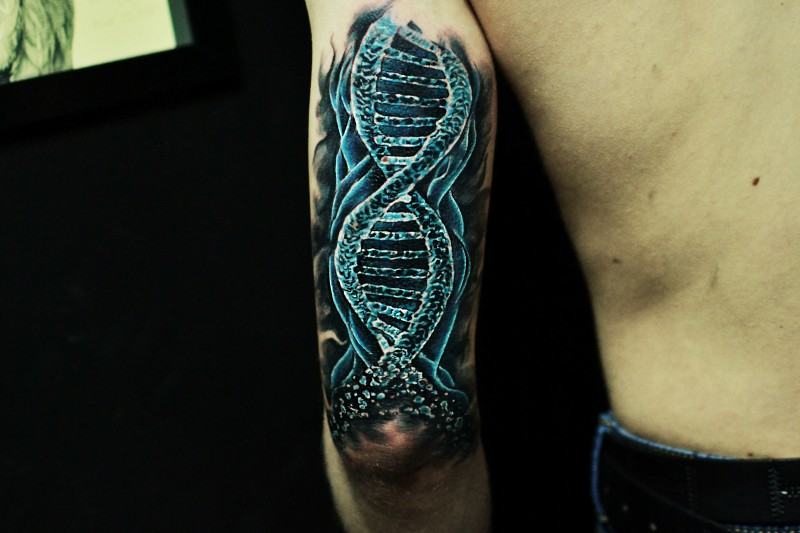 New school style colored arm tattoo of DNA