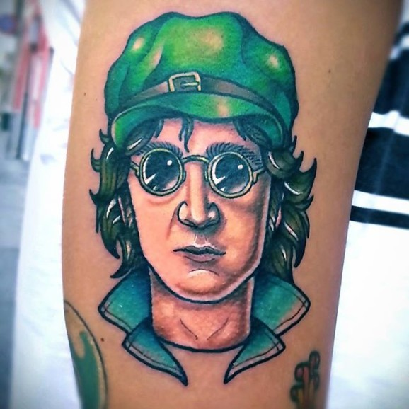 New school style colored arm tattoo of Lennon face