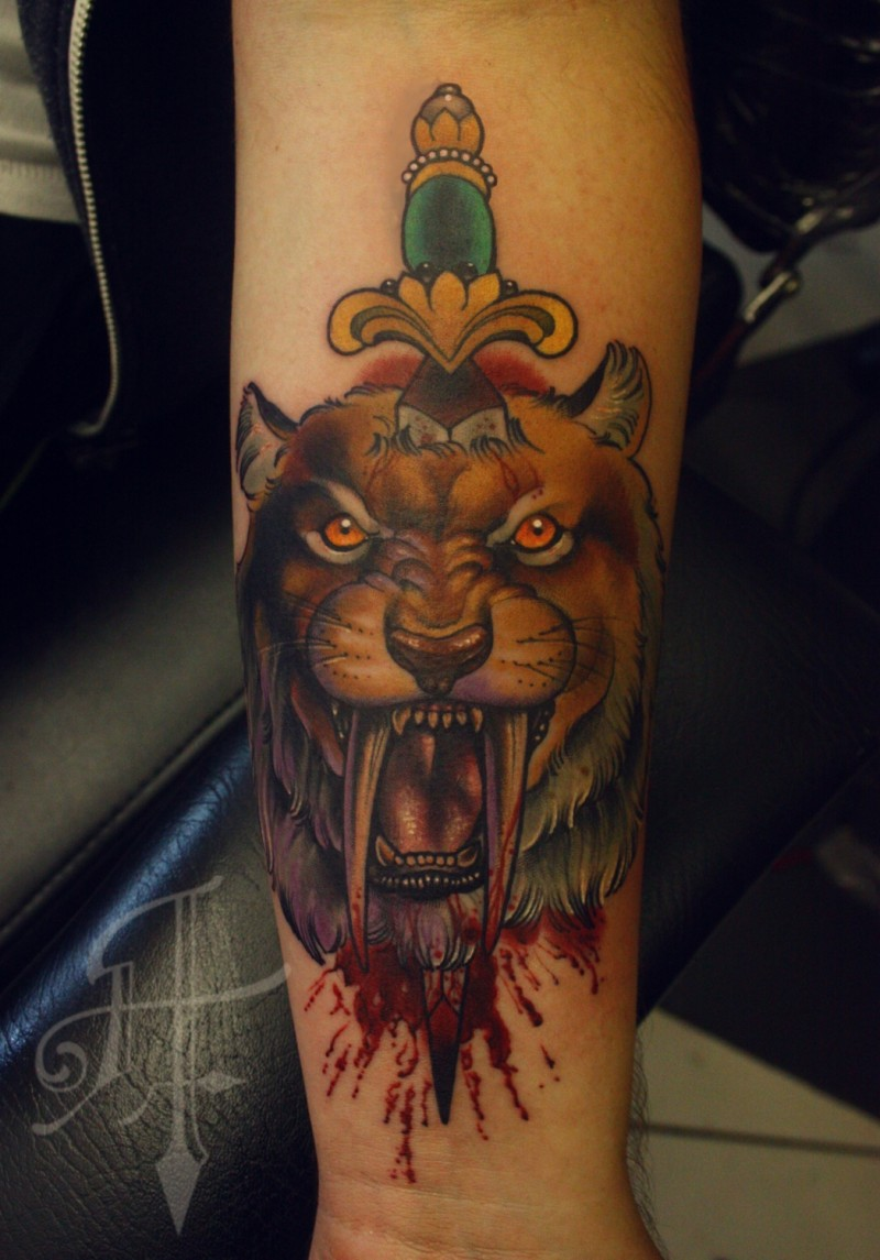 New school style colored arm tattoo of ancient tiger with sword