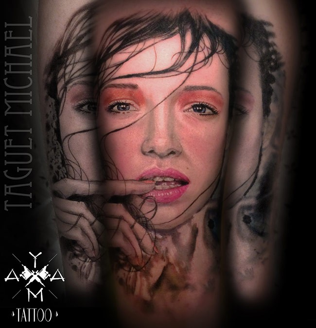 New school style colored arm tattoo of seductive woman face
