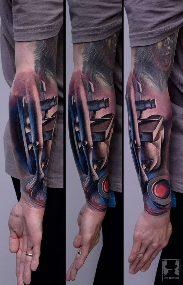 New school style colored arm tattoo of art picture