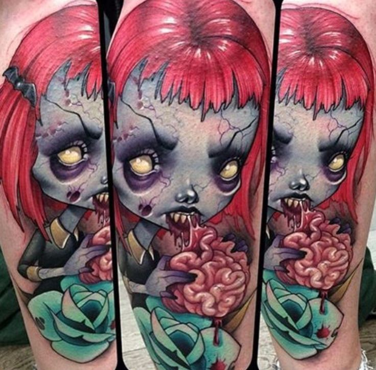 New school style colored arm tattoo of zombie doll with rose and brains