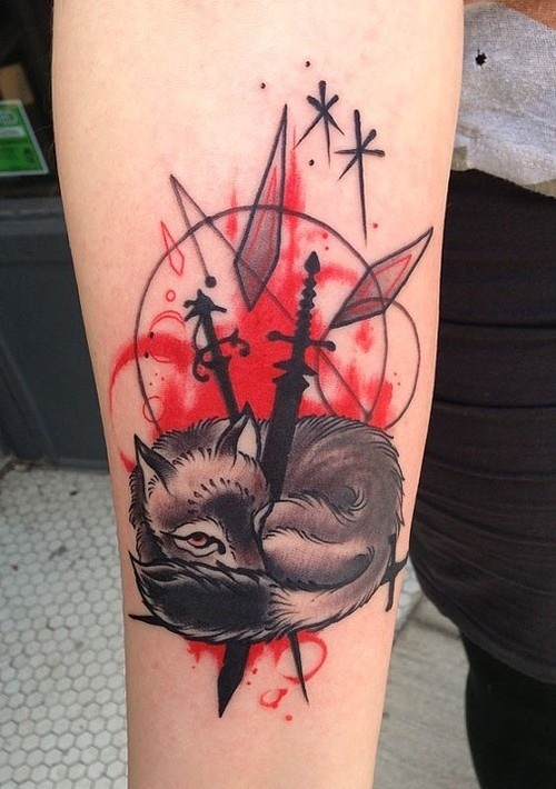 New school style colored arm tattoo of funny fix with swords and stars