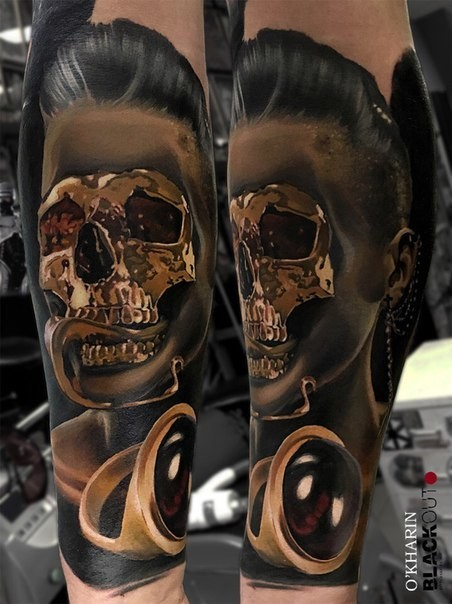 New school style colored arm tattoo of creepy woman with golden skull mask